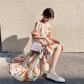 洋裝 短袖1905#沙灘波西米亞印花連身裙長裙女DB603A紅粉佳人