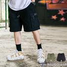 【OBIYUAN】休閒褲 側邊口袋 素面 簡約 工作短褲 共2色【Y0769】