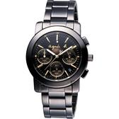 agnes b. 魔幻煥彩三眼計時手錶-38mm VD53-KP30G(BT3033X1)