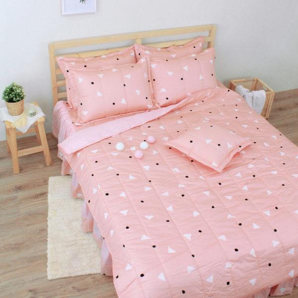 清新日和 雙人加大鋪棉涼被床包組(6x6.2呎)四件式(100%純棉)桔色[艾莉絲-貝倫] MIT台灣製T4HC-KF2640-OG-B