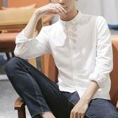 長袖襯衫 襯衫男長袖春秋季韓版潮流修身學生帥氣小領白色襯衣男士寸衫-炫科技