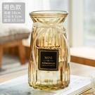 花瓶 歐式玻璃花瓶透明彩色水培植物花瓶客廳裝飾擺件插花瓶【快速出貨八折鉅惠】