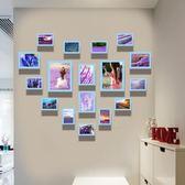 臥室床頭背景牆上相框可愛心形照片牆組合兒童房牆面裝飾相片掛牆【快速出貨八五折鉅惠】