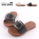 [Here Shoes]軟Q牛津鞋底 2cm拖鞋 皮革方口金屬飾品 圓頭平底涼拖鞋-AN912