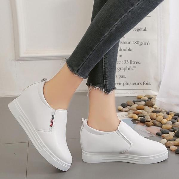 增高鞋 內增高休閒鞋2021春季新款小白鞋子懶人鞋厚底單鞋一腳蹬女鞋百搭 喜迎新春