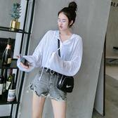 長袖薄料黑白顯瘦寬鬆休閒褲 防曬衣女T恤潮