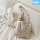 【P253】shiny藍格子-清新甜美.蕾絲大容量水桶手提草編編織單肩包