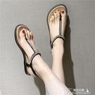 涼鞋-夏季夾腳涼鞋女仙女風平底學生時尚帶鑽潮海邊沙灘鞋度假百搭 提拉米蘇
