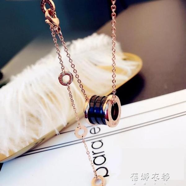 時尚陶瓷圓柱鎖骨鍊潮流女鈦鋼玫瑰金大氣氣質百搭款項鍊女 蓓娜衣都