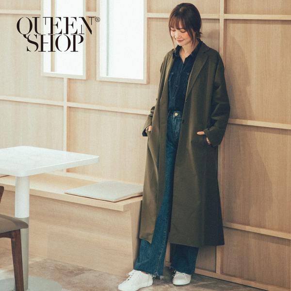 Queen Shop【02040621】翻領綁帶長版風衣外套 兩色售*現+預*