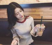 秋季新款女裝一字領撞色條紋喇叭袖木耳邊針織打底衫修身外穿毛衣