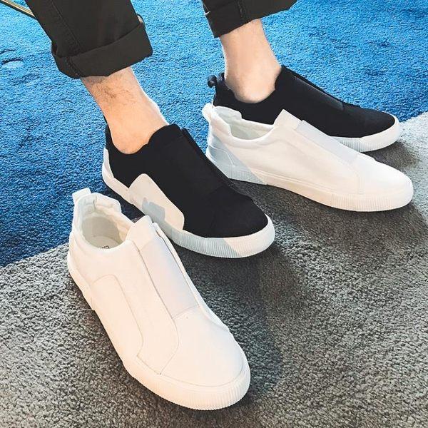青少年流行男鞋帆布鞋一腳蹬懶人鞋無鞋帶舒適運動鞋 可可鞋櫃