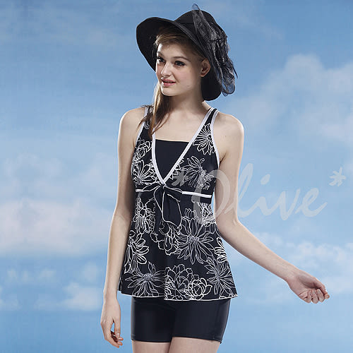 ☆小薇的店☆泳之美品牌【優雅花朵圖騰】時尚二件式泳裝特價1190元 NO.8851(XL-3L)另有加大款