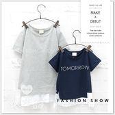 小童 純棉 親子裝 字母前短後長拼接上衣 長版 短袖 童裝 男童 女童 T恤 短T