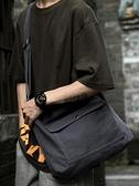 斜挎包 2021新款帆布單肩包男斜挎包托特包復古挎包潮流郵差包大容量背包