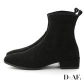 D+AF 百搭指標.麂皮絨方頭中跟襪靴*黑