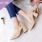大尺碼女鞋-凱莉密碼-氣質絨面後跟蝴蝶結尖頭粗跟高跟鞋7.5cm(41-46)【BB28-2】米白