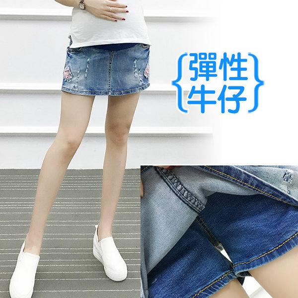 【愛天使孕婦裝】韓版(92289)彈性牛仔短褲裙 孕婦褲(可調腰圍)L/XL/XXL