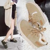 冬季雪地靴女韓版百搭防滑學生加絨保暖棉鞋平底繫帶面包鞋 奇思妙想屋