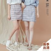 褲裙 方塊格子顯瘦車線後拉鍊A字短裙M-L號-BAi白媽媽【301436】