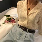夏季韓版氣質蕾絲長袖鏤空外套女寬鬆顯瘦西裝領防曬衫學生上衣     泡芙女孩輕時尚