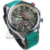 T5 sports time 雙眼 休閒 真三眼計時手錶 男錶 防水 日期視窗 皮革 帆布 綠色 TH3584G