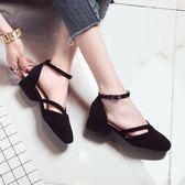 涼鞋春夏季新款一字扣淺口粗跟單鞋涼鞋女韓版方頭中低跟絨面女鞋 印象部落
