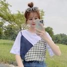 網紅假兩件上衣服短袖2021年新款女寬鬆百搭學生韓版撞色拼接t恤 果果輕時尚