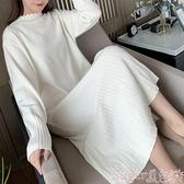 新品中尺碼洋裝大碼女裝2020秋冬新款胖妹妹mm毛衣裙寬鬆顯瘦中長款針織連身裙子