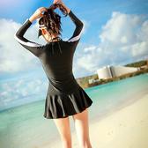 韓國泳衣女長袖運動鋼托連體裙式黑白拼接溫泉修身潛水服沖浪服