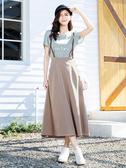 單一優惠價[H2O]PU皮吊帶設計顯瘦大波浪吊帶長裙 - 黑/卡/駝色 #0674008