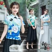 中國風旗袍上衣 改良式時尚民國女裝 盤扣唐裝漢服雪紡衫 入秋首選