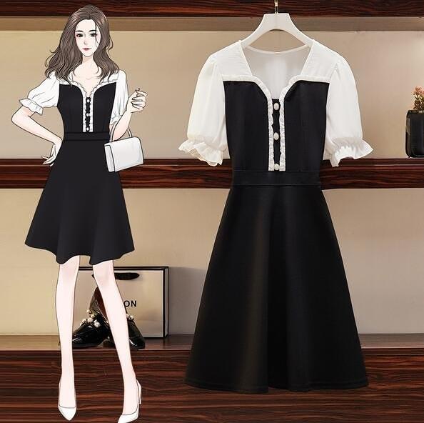 洋裝 連身裙 中大尺碼 L-4XL 新款顯瘦減齡拼接收腰溫柔氣質赫本風小黑裙4F054-6805.胖胖唯依