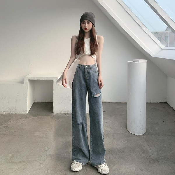 牛仔褲女破洞褲夏季高腰顯瘦垂感寬鬆直筒寬管褲拖地長褲薄款褲子 黛尼時尚精品