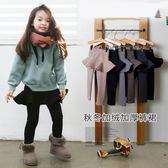 女童裙褲 2018秋冬女童加絨加厚假兩件荷葉純色保暖打底褲