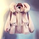 女秋冬保暖短版大衣外套 中大尺碼大衣 大毛領連帽毛呢外套