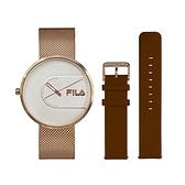 【FILA 斐樂】簡約設計腕錶錶帶套組-玫瑰金x棕/38-178-002-SET C/台灣總代理公司貨享兩年保固