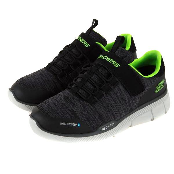 SKECHERS AIR-COOLED 灰黑綠 防潑水 魔鬼氈 休閒鞋 中童 童鞋 (布魯克林) 97925LBKCC