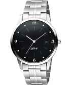STAR 藝術時尚簡約風情腕錶-黑x銀 9T1407-231S-D