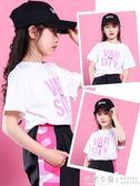 女童短袖t恤兒童韓版洋氣寬鬆半袖中大童時尚夏裝上衣潮 ◣怦然心動◥