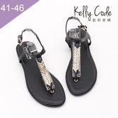 大尺碼女鞋-凱莉密碼-時尚性感羅馬風真皮寬版夾腳平底涼鞋2cm(41-46)【YGM203-19】黑色