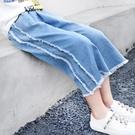 女童牛仔褲 女童寬管褲夏季2019女大童直筒牛仔褲薄款寬鬆七分褲-Ballet朵朵