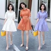 輕熟風洋裝 法式襯衫連身裙女夏收腰中長款氣質小個子顯瘦紫色輕熟襯衣風裙子-Ballet朵朵