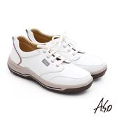 A.S.O 3A全掌 真皮綁帶氣囊寬楦休閒鞋  白