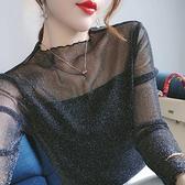 罩衫 常規/加絨亮絲網紗長袖打底衫2020新款蕾絲衫修身百搭洋氣上衣女易家樂