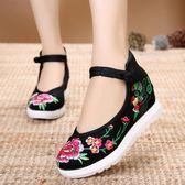 中國風民族繡花鞋高坡跟盤扣女鞋淺口單鞋老北京布鞋 超值價