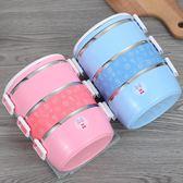 驢小毛大容量不銹鋼飯盒便當盒學生成人保溫日式分格多層3餐盒