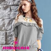 【SHOWCASE】雪紡荷葉縮襬上衣/T恤(灰)