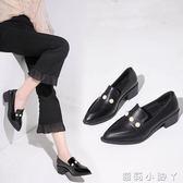 牛津鞋百搭秋季女鞋子新款潮黑色小皮鞋女粗跟高跟中跟英倫單鞋 蘿莉小腳ㄚ