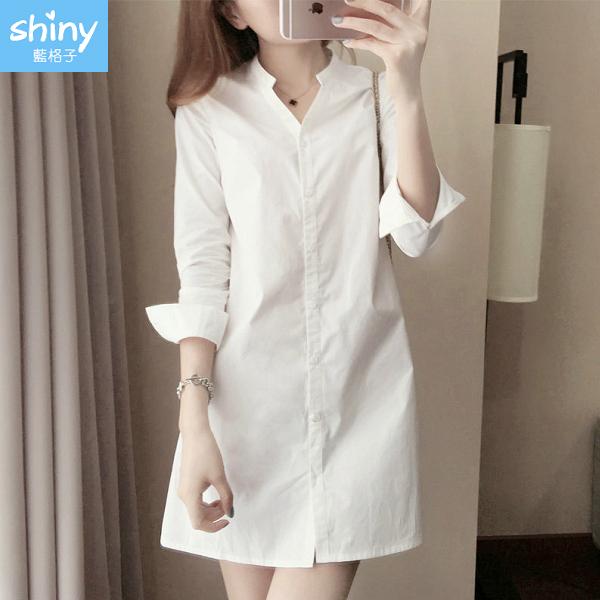 【V3416】shiny藍格子-簡約時尚.純色修身長袖中長款襯衫